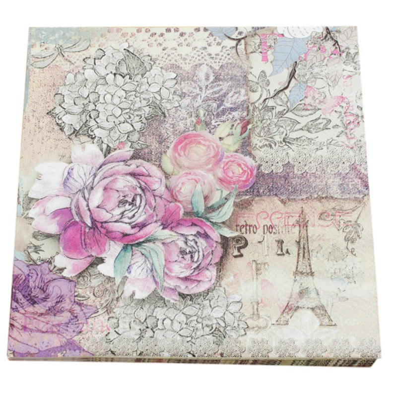 Retro Floral Printing Napkin Roses Towel Paper 20 pcs/lot Party Paper Napkins pink floral towels