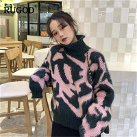 RUGOD New Turtleneck Women Sweaters Knitted Thick Warm Winter Clothes Plus Size Korean Fashion Women Pullovers christmas sweater