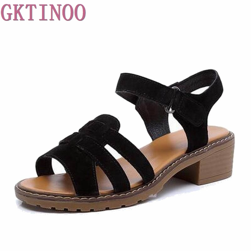 2017 Genuine Leather Women Flats Sandals Plus Size 35-40 New Fashion Casual Solid Buckle Strap Woman Shoes tangnest new embroider women flats casual flower printed ballet flats solid pu leather leisure shoes woman size 35 40 xwc1233