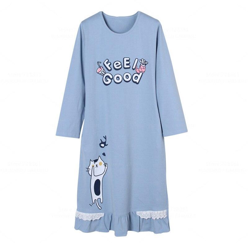 Brand 100% Cotton   Nightgown   Women Nightdress Cartoon Sleepwear Loose Big   Nightgowns   Blue   Sleepshirts   Dress Lounge Home Clothing