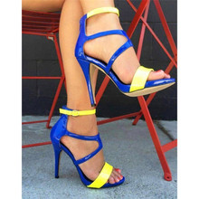 SHOFOO shoes,Fashion novelty free shipping, multicolor patent fabrics, 11 cm high-heeled sandals, women's sandals. SIZE:34-45
