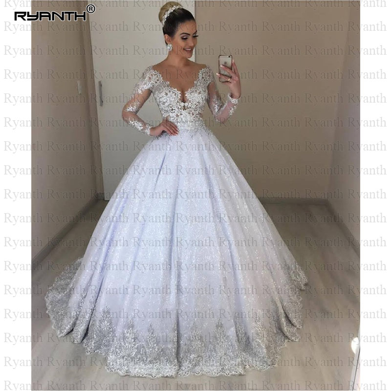Vestido de noiva Luxury Ball Gown Wedding Dress 2019 Sexy Long Sleeves Lace Wedding Dress Shinning Princess Robe De Mariage
