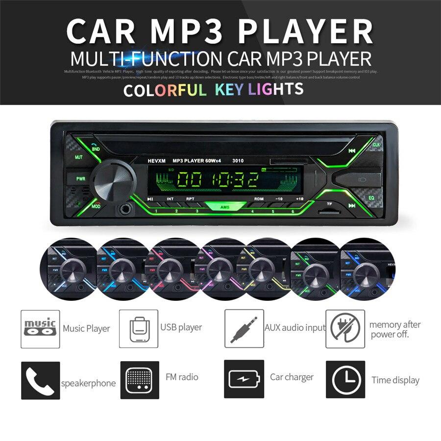 Universel 7 couleurs rétro-éclairage voiture stéréo Radio Audio lecteur MP3 In-Dash USB FM SD AUX 1 DIN Bluetooth sans fil