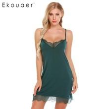 Ekouaer Women Sexy Nightgown Lace Trim Lingerie Sleepwear Camisole Chemise V-Neck Home Dress Night Shirt Sleepwear Nightwear