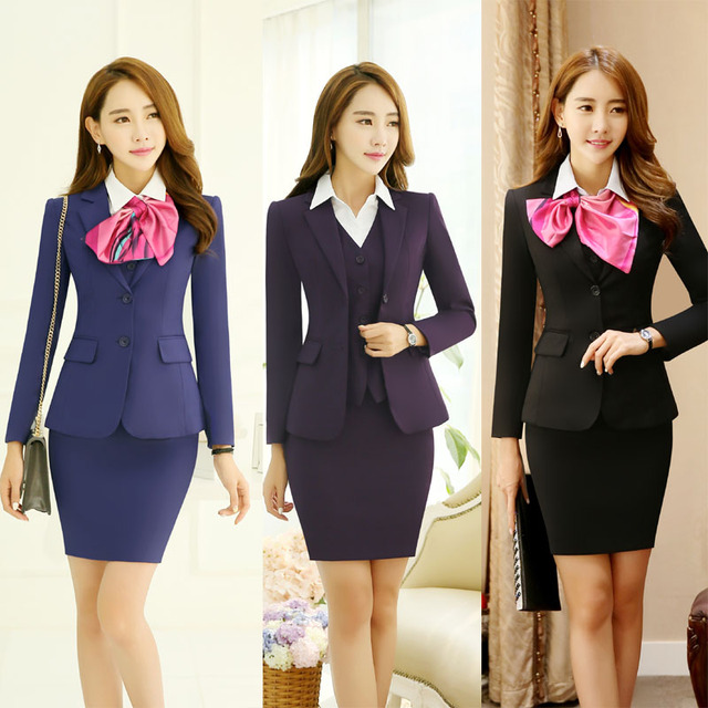 c064fc4de2870 New Spring Autumn Professional Ladies Office Formal Work Wear Blazers Suits  With Jackets And Skirt Female Business Uniforms