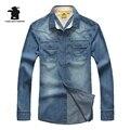 New Brand Men's Casual Cowboy Shirt Fashion 100% Cotton Plus Size Long Sleeve Casual Shirts Men Pull Home L~4XL C16B99807