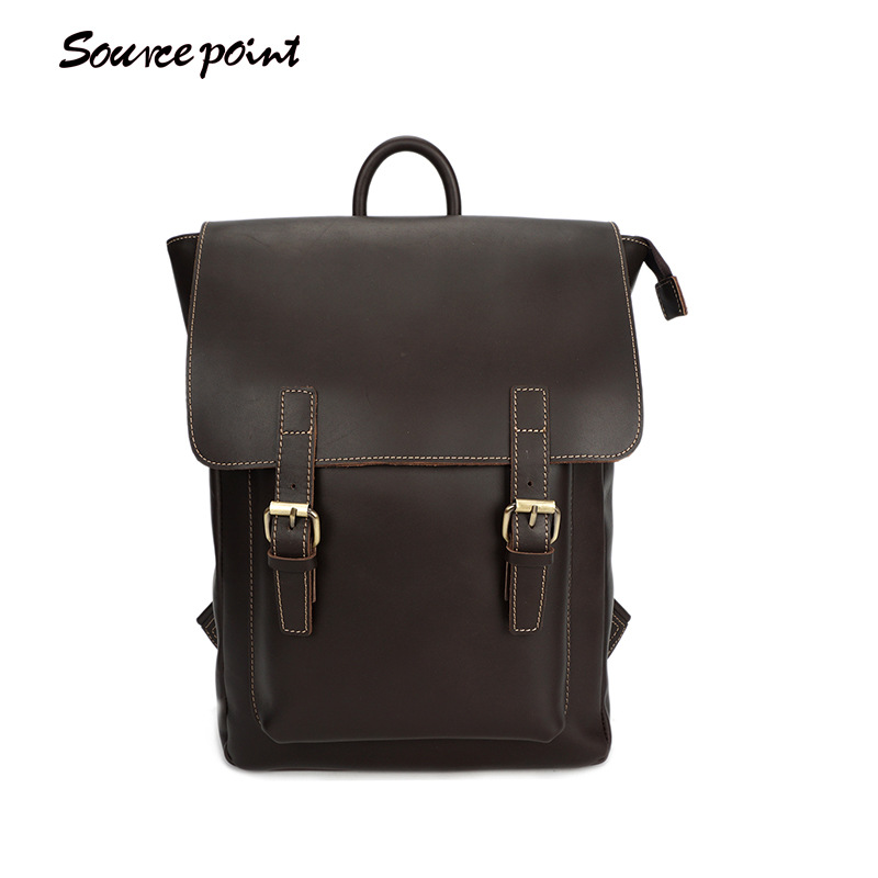 SOURCE POINT New Men Backpack Crazy Horse Leather Men Bags Fashion Large Capacity Travel Bags Genuine Leather Backpack YD-01183# все цены