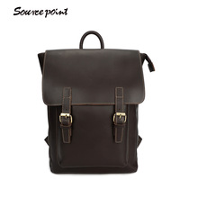 SOURCE POINT New Men Backpack Crazy Horse Leather Men Bags Fashion Large Capacity Travel Bags Genuine Leather Backpack YD-01183#