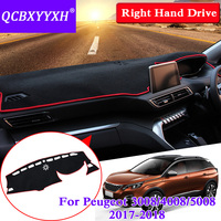 QCBXYYXH For Peugeot 3008 4008 5008 2017 2018 RHD Dashboard Mat Protective Interior Photophobism Pad Shade Cushion Car Styling