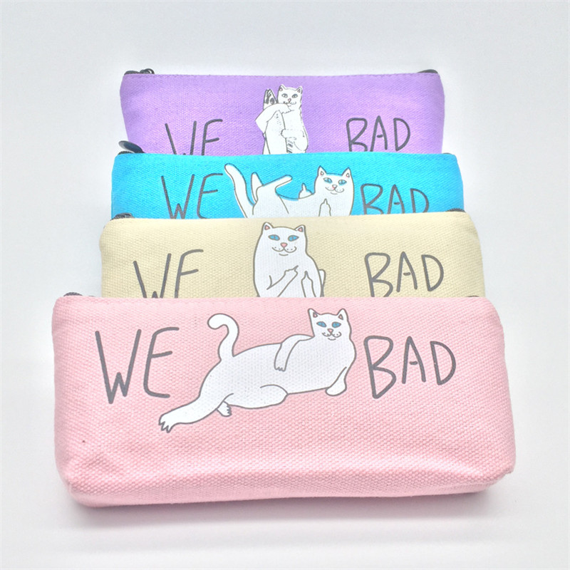 Fashion Women Portable Travel Cosmetic Bag Cartoon Cat Makeup Case Pouch Toiletry Wash Bag Organizer Canvas Material Wash Easily