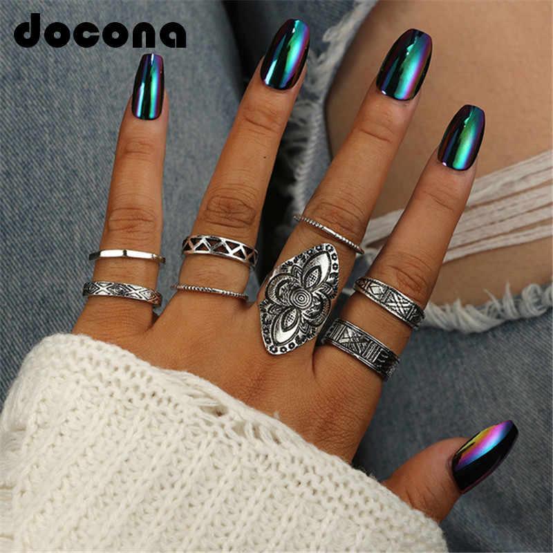 Docona โบฮีเมียสไตล์ 8 ชิ้น/เซ็ตแหวนเงินโบราณคลาสสิกรูปแบบดอกไม้แกะสลักแหวนผู้หญิง TRIBAL Knuckle แหวนเครื่องประดับ 3449