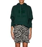 2018 темно зеленый Женская мода Дизайнеры мансел oversize свитшот с капюшоном топы