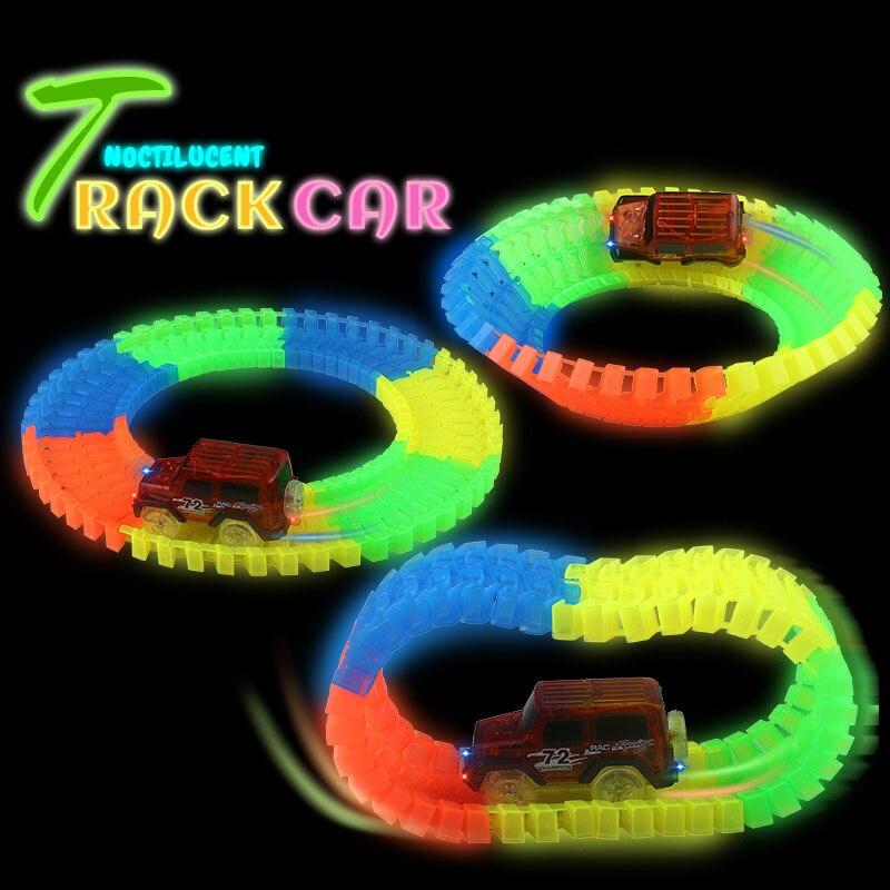Pista flexible DIY Toy Slot Car Kit con luz LED Coche brilla en la - Vehículos de juguete para niños - foto 5