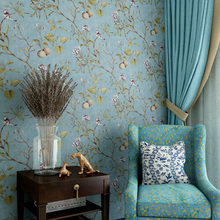 wholesale American country wallpapers vintage nostalgic living room bedroom blue dark green flowers birds TV back wall paper