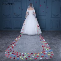 Cathedral Wedding Veil 4.8 M Long Ivory Bridal Veils With Colorful Rose Petals Voile De Mariee Velo Novia Largo