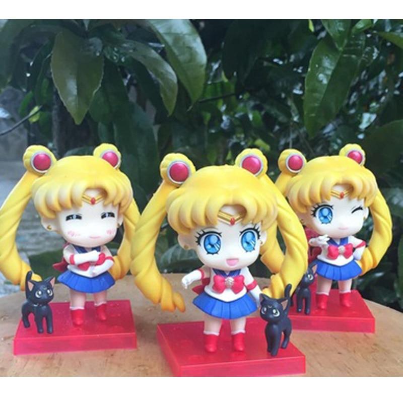 "Sailor Moon Tsukino Usagi Q Version PVC Action Figures Collectible Model Toys Dolls 4"" 10cm 3pcs/set KT1803"