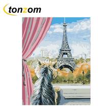RIHE Cat Watching Tower Diy Painting By Numbers Oil On Canvas Hand Painted Cuadros Decoracion Acrylic Paint Home Art