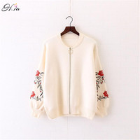 H SA 2017 Spring Sweater Cardigans Embroidery Knitted Cardigans Zip Poncho Fashion Knitted Outwear Oversized Jumpers