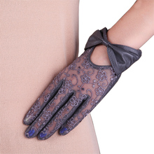 2019 New Women Genuine Leather Gloves Female Fashion Bowknot Lace Sunscreen Lambskin Touchscreen L177N-1