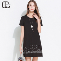 Summer Women's Embroidery Plus Size Dresses Elegant For Lady Black Green Simple A Line Dress Short Sleeves Woman Clothes