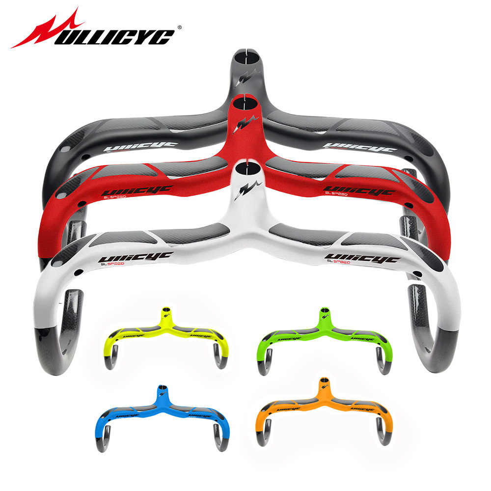ULLICYC Brand Strong Full <font><b>Carbon</b></font> <font><b>Road</b></font> Bike <font><b>Handlebar</b></font> Light weight <font><b>Integrated</b></font> <font><b>Road</b></font> Car To/Siamese Black Bicycle <font><b>Handlebar</b></font> YT769 image