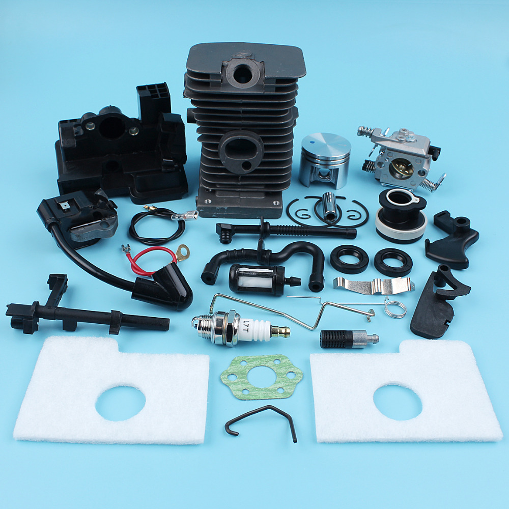38mm Cylinder Piston Carburetor Ignition Coil Kit For Stihl 017 MS170 018 MS180 Chainsaw Intake Manifold Fuel Oil Air Filter Rod carburetor oil fuel line intake boot cap for chainsaw stihl 044 046 ms440 ms460