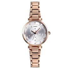 SKMEI Quartz 1411 Wristwatch Women Luxury Fashion Alloy Strap Bracelet Watch Ladies 3Bar Waterproof Watch Donna Relogio Feminino gnova platinum fashion rainbow strap bracelet women watch ethnic wooden beads fashion dress wristwatch quartz relogio a890