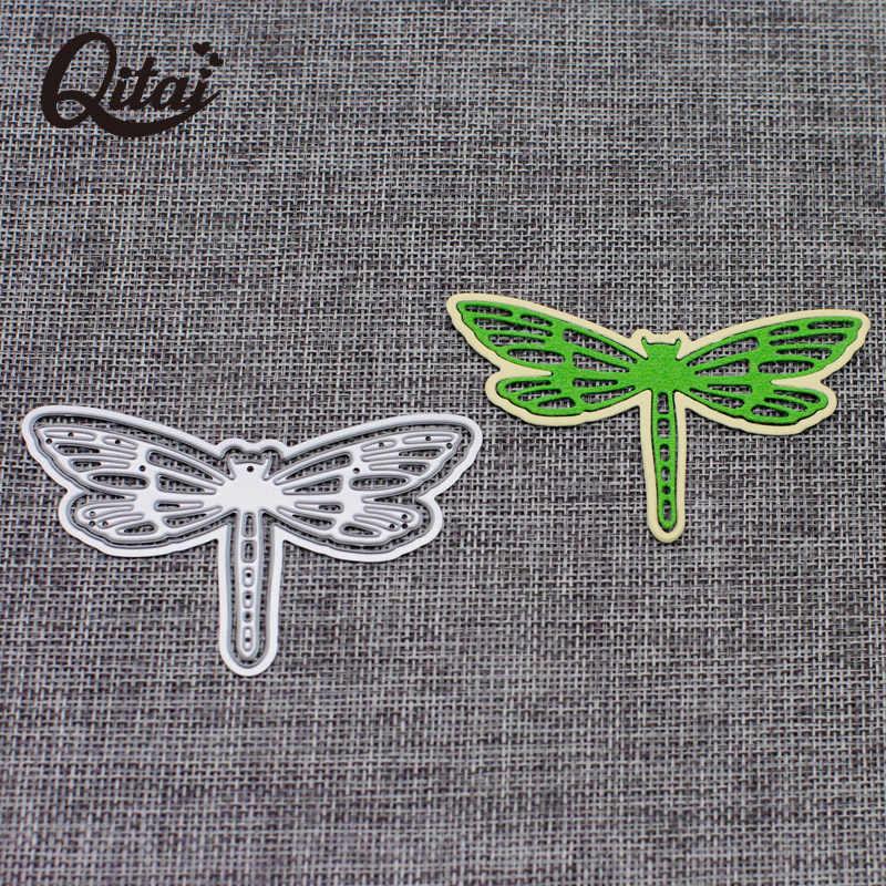 QITAI 2 piezas libélula decoración para fiesta de boda troqueles de corte de Metal plantilla para álbum de recortes de bricolaje artesanía troquelador niños hechos a mano D250