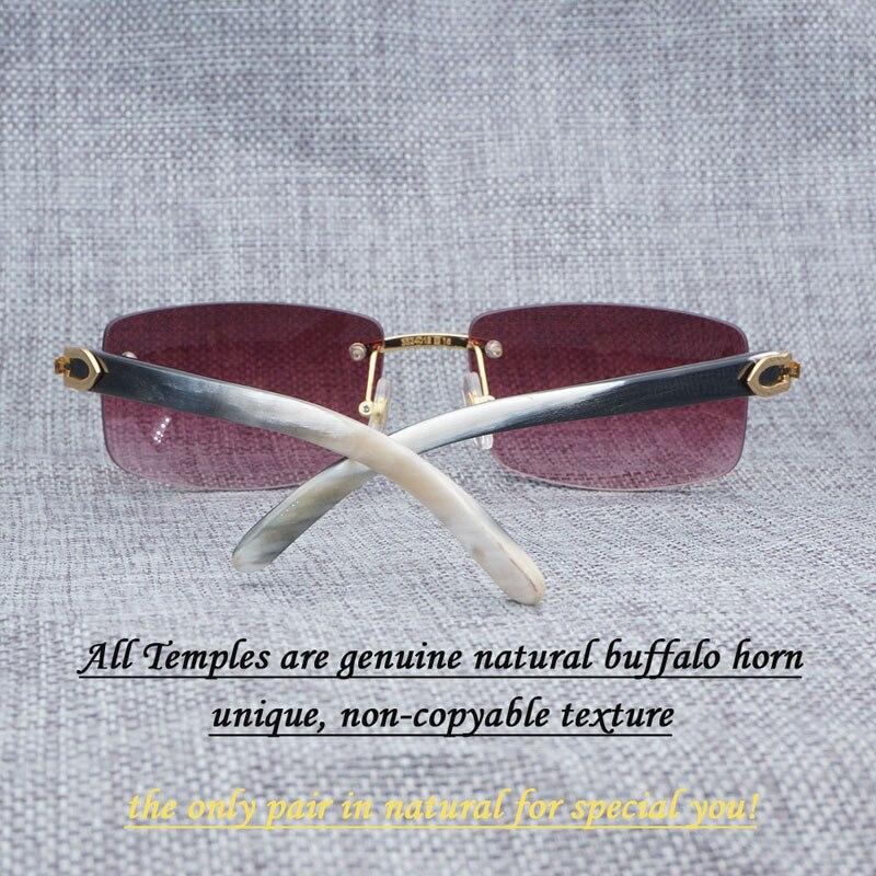 Lunettes de Soleil carrées Hommes De Luxe Buffalo Corne Lunettes pour Hommes Unique De Luxe Sans Monture Rétro Style Shades Blanc Mix Noir Temples 012