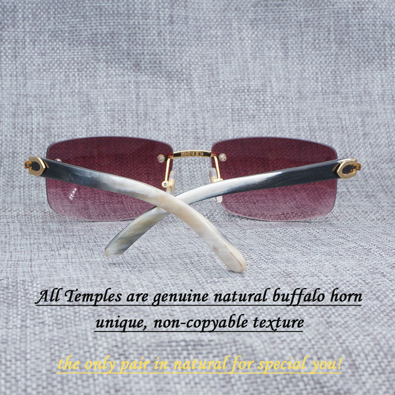 Square Sunglasses Men Luxury Buffalo Horn Glasses for Men Unique Luxury Rimless Retro Style Shades White Mix Black Temples 012