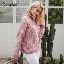 Pletený dámský huňatý svetr s výstřihem do V
