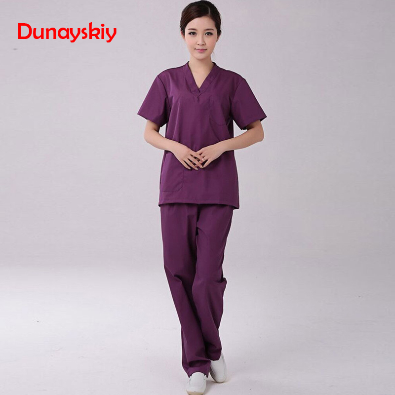 New Fashion Short-sleeved Medical Surgical Clothing Women Solid Elegant Suits Split Brush Suit Splicing Set Scrub Sets