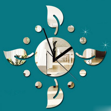 3D Mirror Leaf Design Wall Clock DIY Acrylic Mural Stickers Living Room Watch New House Home Decor For Kid's Room Gifts