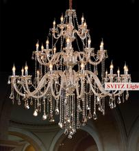 Bohemian 32-42 pcs Cognac chandelier crystal lighting for church mall villa hotel large vintage glass chandelier Candelabro lamp