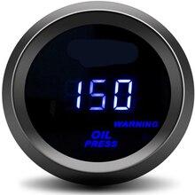 """Цифровой датчик давления масла """" 52 мм 0-150PSI, Синий светодиодный датчик давления масла с датчиком, автомобильный измеритель, автоматический датчик давления масла, двигатель"""