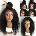 2016 Venda de alta densidade Glueless full lace wigs Virgem Humano Brasileiro cabelo Ondulado parte dianteira do laço perucas para as mulheres negras com cabelo do bebê