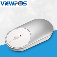 Wireless Gaming Mouse Mute Button Silent Click Rechargeable 1200DPI Optical Mice Silver For Tablet Laptop Mart