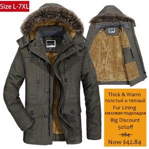 Image 1 - Yihuahoo 겨울 자켓 남자 5xl 6xl 코튼 패딩 따뜻한 파카 코트 캐주얼 가짜 모피 후드 양털 롱 남성 자켓 윈드 브레이커 남성