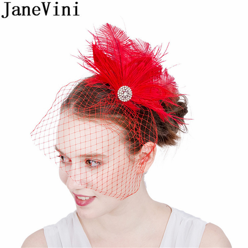 JaneVini Beaded Bridal Net Feather Hats Red Face Veil Bridal Feathers Fascinator Bride Wedding Hats for Women elegant Church Hat