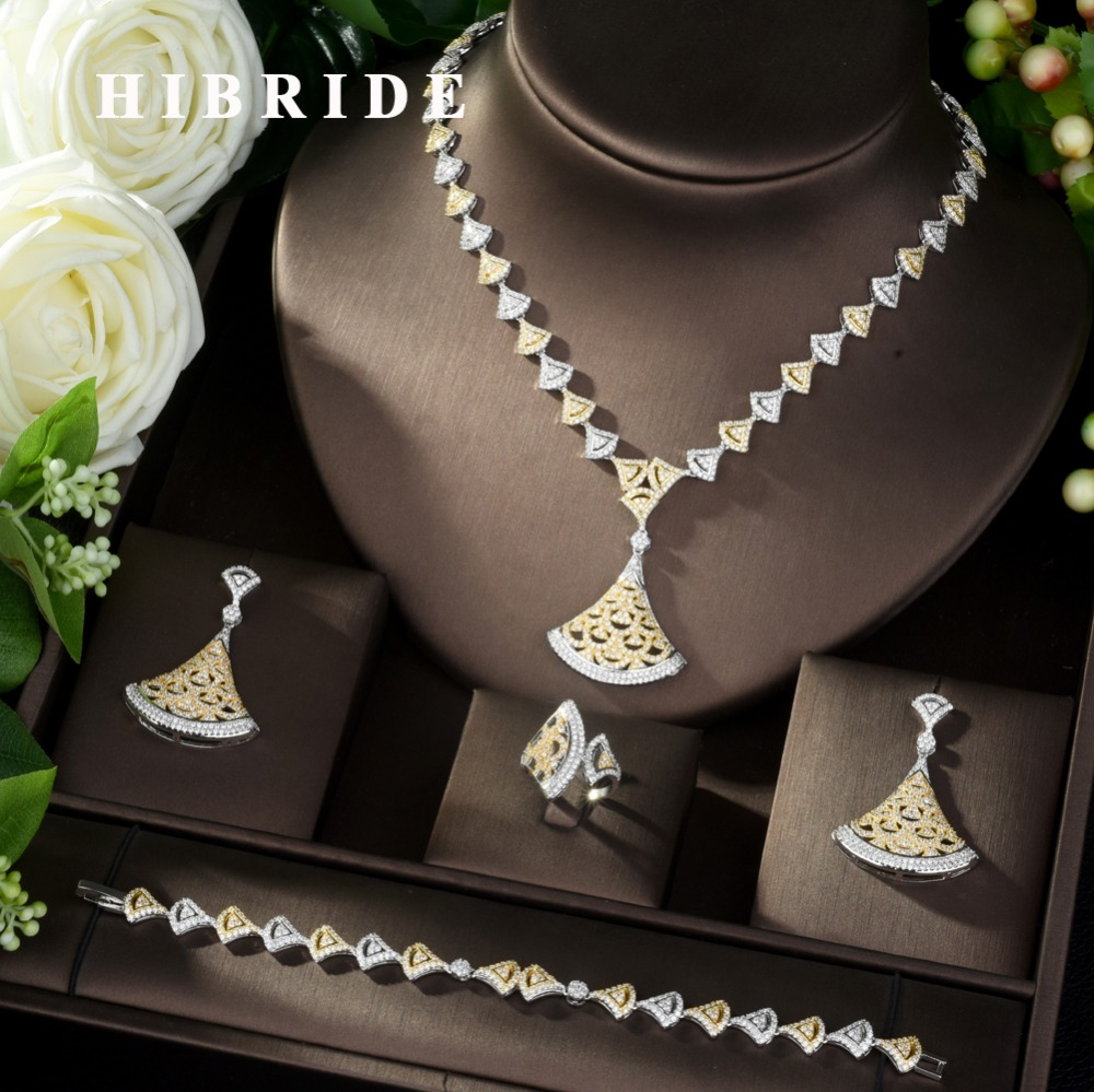 HIBRIDE Hot sale Nigeria 4pcs Bridal Jewelry Sets Fan Shape Dubai Full Jewelry Set for Women