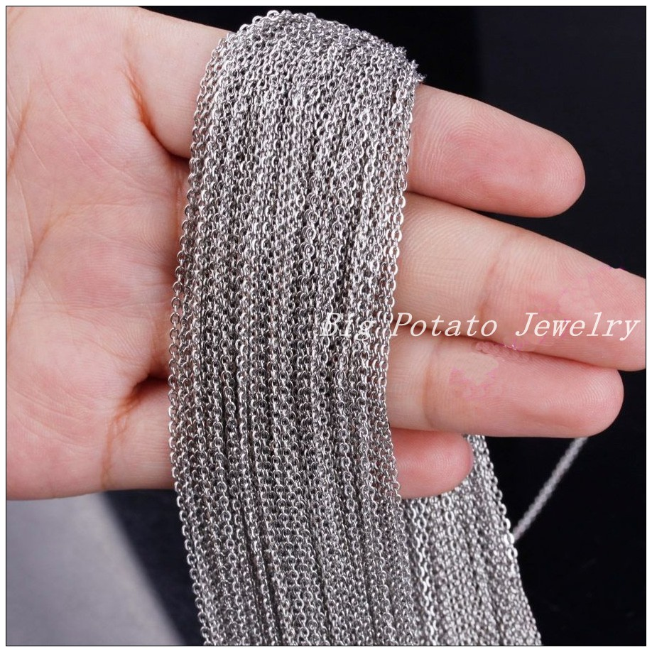 Wholesale Price 316L Stainless Steel 2mm/3mm Silver Cross Tone Chain DIY Jewelry Finding For Pendant In Bulk 5/10/20Meter