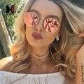 ШОНА Классический Женщины Круглый Розовый Светоотражающие Солнцезащитные Очки Ретро Мужчины Зеркальным Покрытием Очки