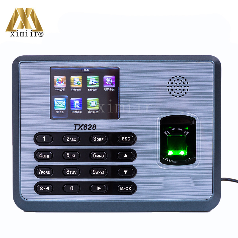 Hot!!!1ZK TX628 Fingrprint Time Attendance Time Clcok With TCP/IP USB RS232/485 Communition Biometric Fingerprint Time Recording zk tx628 3 inch color screen new tx628 id 125khz tcp ip rs232 485 biometric fingerprint time attendance recorder time clock sdk