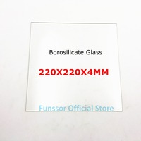 Funssor 4MM thickness One Side Matte Borosilicate Glass Plate 220 x 220mm Flat Polished Edge for MK2 MK3 Reprap 3D printer