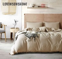 LOVINSUNSHINE Linen Duvet Cover Set Queen Bed Set Pure Pure White Washed Balls Luxury Bedding AB#90