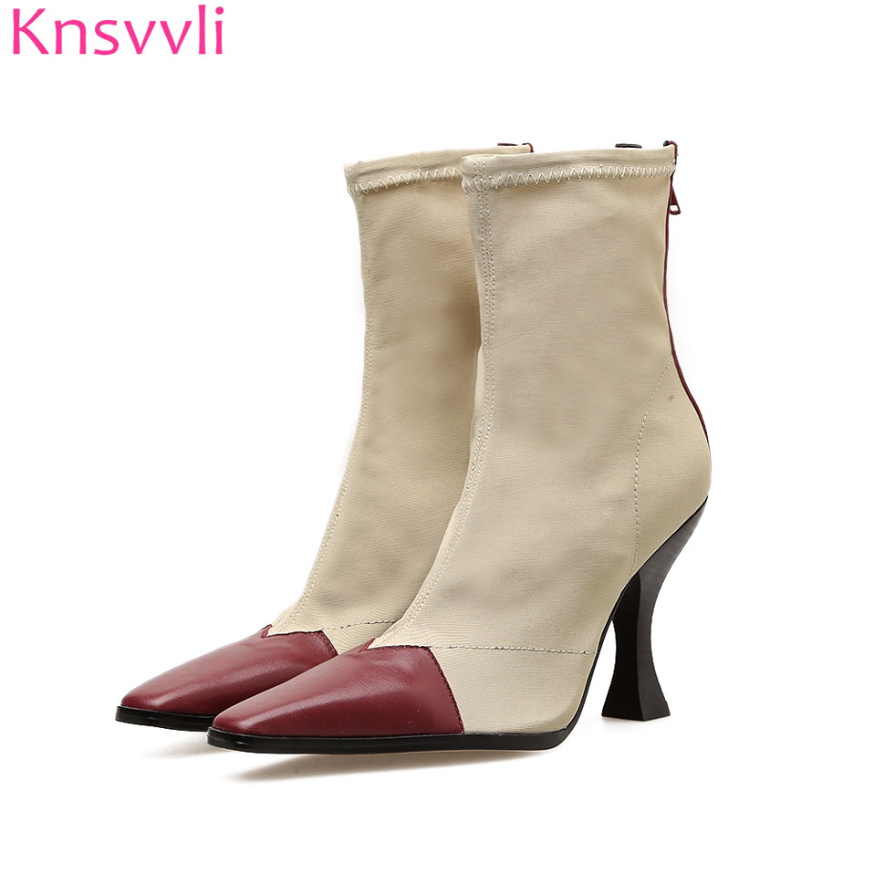 Patchwork small square toe stretch sock boots women fashion mixed color high heel short boots med heel zip chelsea boots mulherePatchwork small square toe stretch sock boots women fashion mixed color high heel short boots med heel zip chelsea boots mulhere