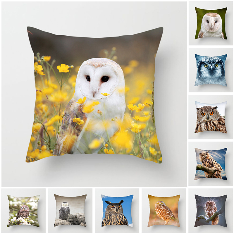 Fuwatacchi Owl Patten Cushion Cover Square Bird Painted Throw Pillows Covers 45*45cm Polyester Home Decorative Pillow Case 2019