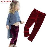 AiLe Tavşan 2017 Bahar Sonbahar Yeni Çocuk giyim Pantolon Kız Altın Kadife Tozluk Pantolon Elastik Ins Kırmızı Yeşil