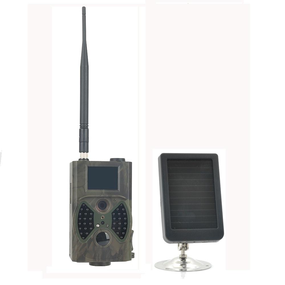 12MP 940NM Black IR night vision GSM MMS GPRS Trail Game Cameras HC300M Hunting Camera with Solar Panel Battery hc 550m gsm gprs sms mms security hunting trail camera hc550m 16mp with 940nm black invisible vision hc 550m