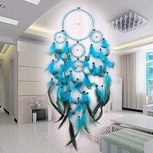 Синий Ловец снов висячие украшения акссесуар для волос индийские перья Ловец снов ремесло подарок настенный автомобильный декор ремесло орнамент c талисманом